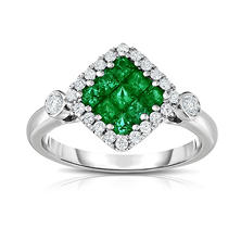 Princess Cut Emerald and Diamond Ring in 18K White Gold