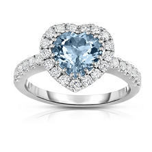 Heart Shaped Treated Aquamarine and Diamond Ring in 18K White Gold