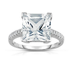 Princess Cut White Topaz and Diamond Ring in 14K White Gold