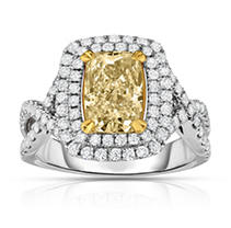 Click here for 2.90 ct. t.w. Yellow Diamond Ring in 18K White Gol... prices