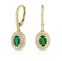 Click here for Emerald Earring with Diamonds in 14K Yellow Gold prices