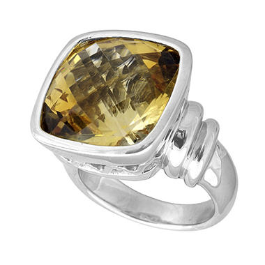 15 ct. Cushion Cut Citrine & Sterling Silver Ring