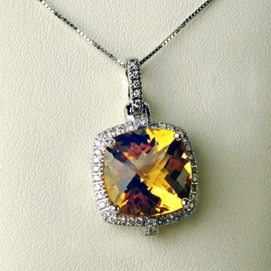 Cushion Cut Citrine and Diamond Pendant in 14K White Gold (I, I1)