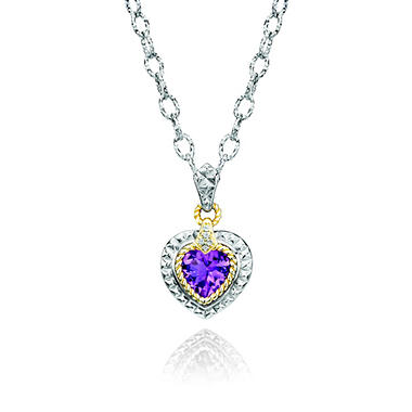 Light Amethyst Pendant in Sterling Silver with 14K Yellow Gold Accents