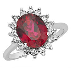 Created Ruby and White Topaz Ring in 14k White Gold