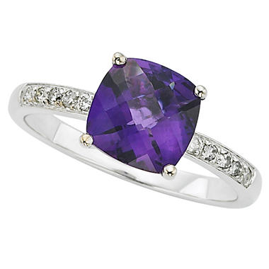 Amethyst and White Topaz Ring in 14k White Gold
