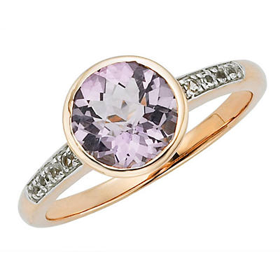 Lite Amethyst and White Topaz Ring in 14k Rose Gold