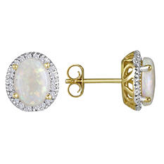 Oval Opal and Diamond Earrings in 14K Yellow Gold