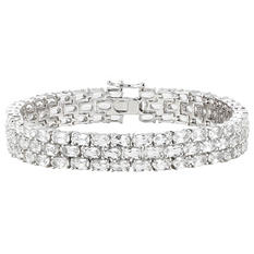 White Topaz Three-Row Bracelet in Sterling SIlver