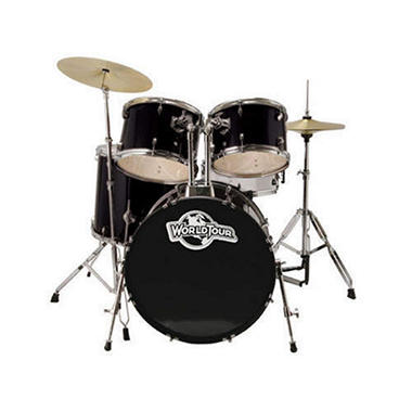 World Tour 5 Piece Drum Set with Cymbals - Black