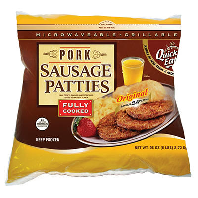 Quick 'N Eat Pork Sausage Patties - 96 oz.