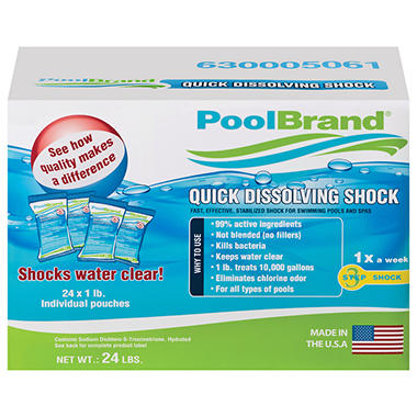 PoolBrand Quick Dissolving Shock - 1 lb. - 24 ct.