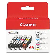 Canon CLI-221 Ink Tank Cartridge, Black/Cyan/Magenta/Yellow (4 pk.)