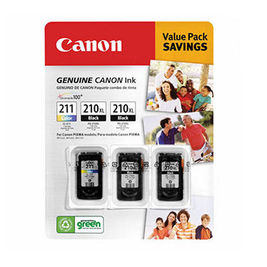 Canon PG-210XL/CL-211 Ink Tank Cartridge, Black/Tri-Color (3 pk.)