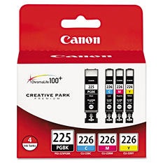 Canon PGI-225PGBK/CLI-226 Ink Tank Cartridge, Black/Cyan/Magenta/Yellow (4 pk.)