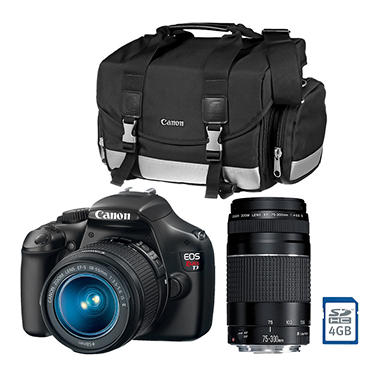 *$399 after $250 Tech Savings* Canon T3 12.2MP Digital SLR Camera with 18-55mm IS Lens, 75-300mm Lens, DSLR Bag, and Memory Card
