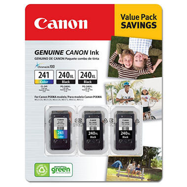 Canon PG-240XL/CL-241 Ink Tank Cartridge, Black/Tri-Color (3 pk., Page Yield 2,100)