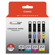 Canon CLI-251 Ink Tank Cartridge, Assorted Colors (4 ct.)