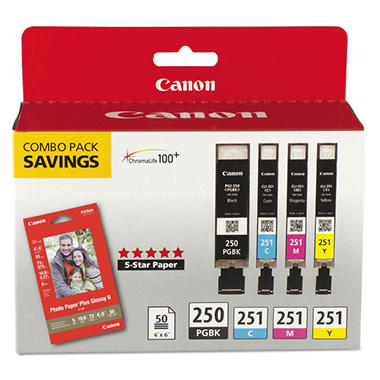 Canon PGI-250BK/CLI-251 Ink Tank Cartridge & Paper Pack, Black/Cyan/Magenta/Yellow (4 pk.)