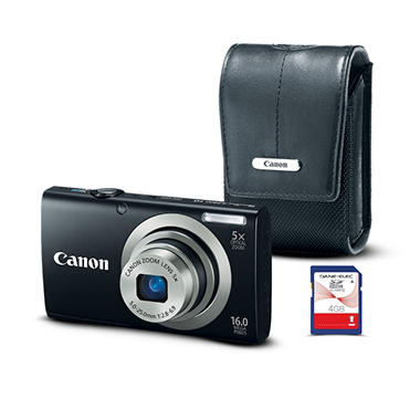 Canon A2300 16MP Digital Camera Bundle with Case and 4GB Card