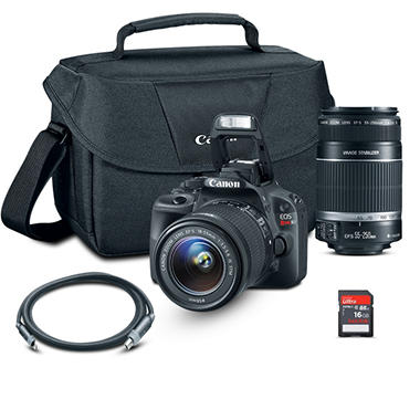 *$799 after $250 Tech Savings* Canon SL1 DSLR Camera Bundle with 18-55mm Lens, 55-250mm Lens, 16 GB SD Card and Camera Bag