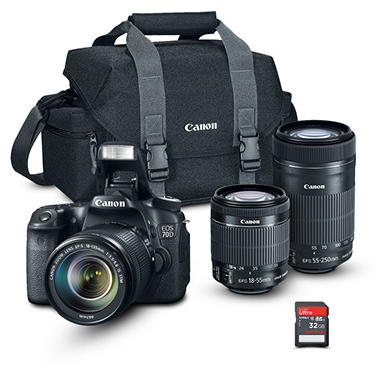 *$1,399 after $250 Tech Savings* Canon EOS Rebel 70D Camera Bundle with  18-55 STM and 55-250 IS Lens, Camera Bag, and 32GB SD Card