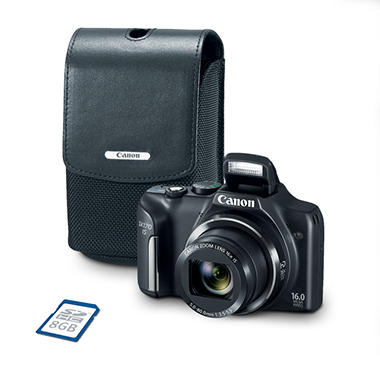 Canon PowerShot SX170 IS Bundle with 16X Optical Zoom, Camera Case and 8GB SD Card