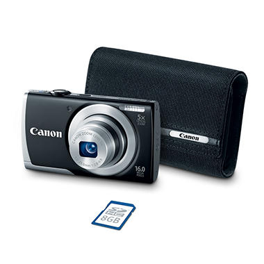 Canon PowerShot A2500 16MP Digital Compact Camera Bundle with 5x Optical Zoom, 8GB SD Card, and Camera Case - Various Colors