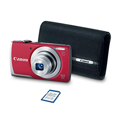 *$79.88 after $30 Tech Savings* Canon PowerShot A2500 16MP Digital Compact Camera Bundle with 5x Optical Zoom, 8GB SD Card, and Camera Case - Various Colors