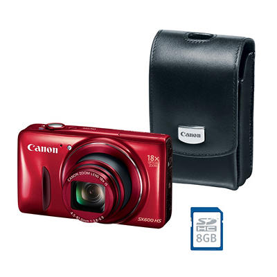 *$199.88 after $50 Tech Savings* Canon PowerShot SX600 16MP HS Bundle with 18x Optical Zoom, Camera Case, and SD Card