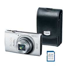 Canon PowerShot ELPH 340 HS Bundle with 16 MP, 12x Optical Zoom, Camera Case, and SD Card - Various Colors