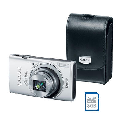 *$159.88 after $40 Tech Savings* Canon PowerShot ELPH 340 HS Bundle with 16 MP, 12x Optical Zoom, Camera Case, and SD Card - Various Colors