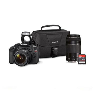 *$599 after $200 Tech Savings* Canon T5 18MP Digital SLR Bundle with 18-55mm IS Lens, 75-300mm Lens, 16GB SD Card, and EOS 100ES DSLR Shoulder Bag