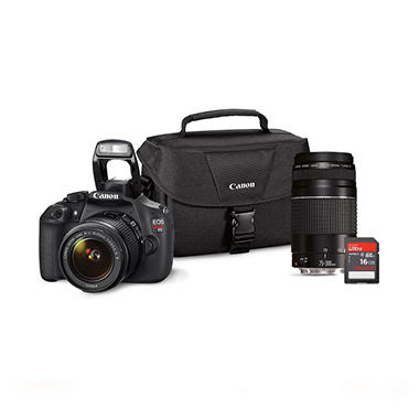 *$599 after $200 Tech Savings* Canon T5 18MP Digital SLR Bundle with 18-55mm IS Lens, 75-300mm Lens, 16GB SD Card, and EOS 100ES DSLR Shoulder Bag