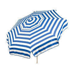 Italian 6-Ft.Umbrella, Acrylic Stripes, Blue and White, Choice of Patio or Beach Pole