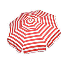 Italian 6-Ft. Umbrella, Acrylic Stripes, Red and White, Choose Beach or Patio Pole