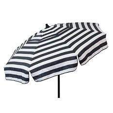 Italian 6-Ft. Umbrella, Acrylic Stripes, Black and White, Choice of Beach or Patio Pole