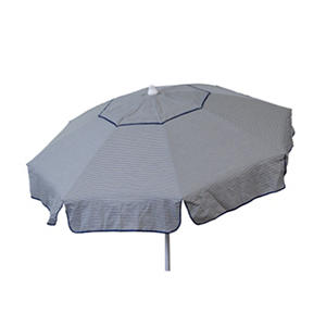 Euro 6-Ft. Vanilla and Navy Thin Stripe Umbrella, Choice of Beach or Patio Pole
