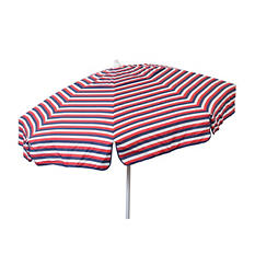 Euro 6-Ft. Red/White/Blue Tri-Color Stripe Umbrella, Choice of Beach or Patio Pole