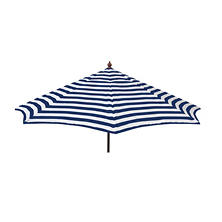 Euro 9-Ft. Wood Frame Umbrella Blue and White Stripe, Patio Pole