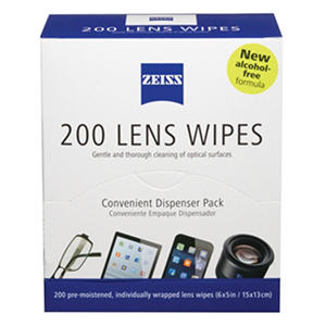 New Zeiss Alcohol-Free Pre-Moistened Lens Cleaning Wipes, 200-Count