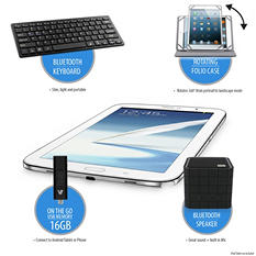 "V7 Mobility Bundle for iPad mini & 7"" - 8"" Tablets, Includes Rotating Tablet Folio Stand, Bluetooth Keybaord, Bluetooth Speaker and ON-THE-GO USB Memory for Android Tablets"