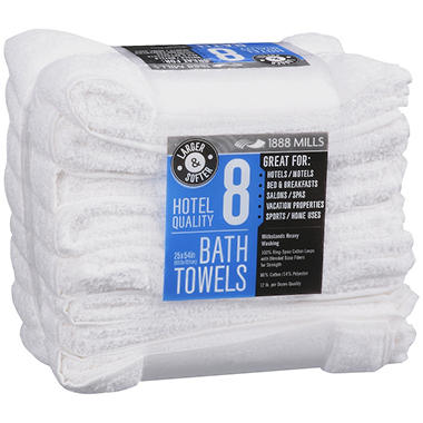 "1888 Mills 25 x 54"" Hotel Quality Bath Towels - 8 ct."
