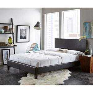 Gentry Upholstered Faux Leather Padded platform bed with Slats