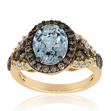 Aquamarine, White & Champagne Ring
