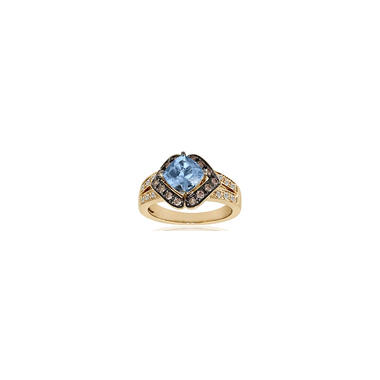 1.25 ct. Aquamarine Ring with Diamonds (G-H, VS2-SI1)