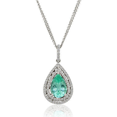 2.89 ct. Pariba Tourmaline Pendant with .37 ct. t.w. Diamond Accents in 14k White Gold (G-H, VS2-SI1)