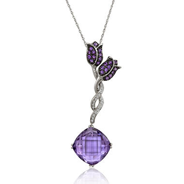 9.32 ct. t.w. Cushion-Cut Amethyst Pendant with Diamond Accents