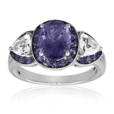 Iolite, Tanzanite, White Topaz and Diamond Ring