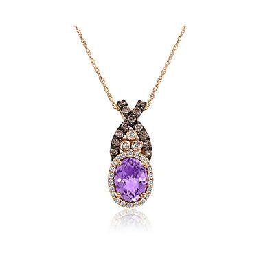 Amethyst & Diamond Pendant in 14K Rose Gold